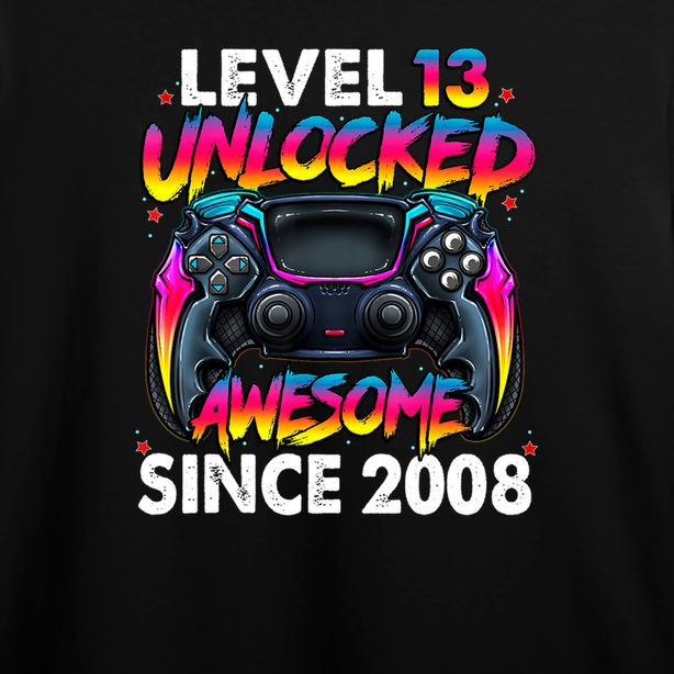 Level 13 Unlocked Awesome Since 2008 13th Birthday Gaming T-Shirt