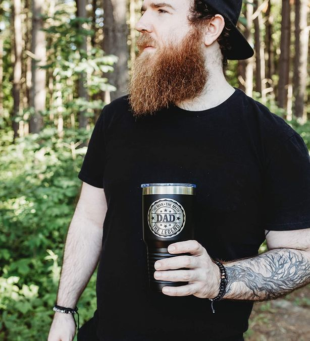 Dad The Man, The Myth, The Legend Coffee Tumbler - Makes a Great Father's Day Gift from Son or Daughter - 30 oz Steel Travel Mug