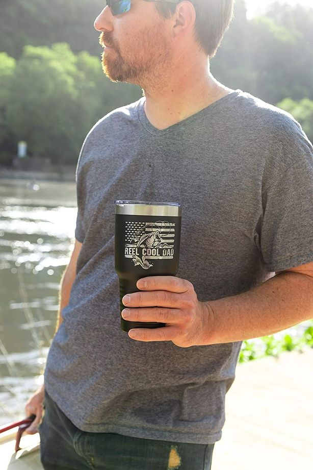 Reel Cool Dad Coffee Tumbler - Perfect Father's Day Gifts for Fisherman - 30 oz Steel Travel Mug