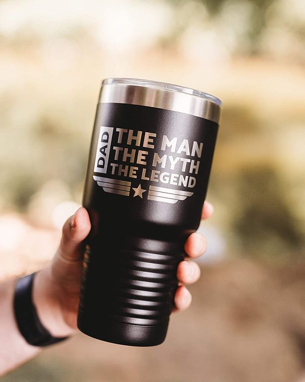 Father's Day Gift for Military Dad The Man, The Myth, The Legend Coffee Tumbler - 30 oz Vacuum Sealed Steel Travel Mug